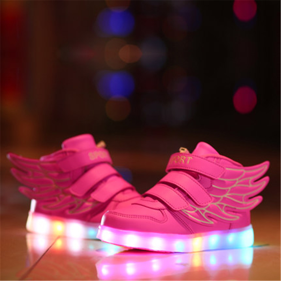 Led luminous Usb Charging Shoes 2017 New Children Illuminated Sneakers Wings Kid 7 Color Led Shoes For Kids Footwear 50Z0014 25 40 size usb charging basket led children shoes with light up kids casual boys