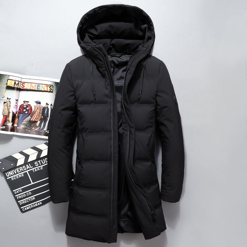 Men Long White Duck   Down   Jacket Casual Hooded   Down     Coat   Thicken Clothing Fashion solid Jackets Autumn Winter BLACK GREEN