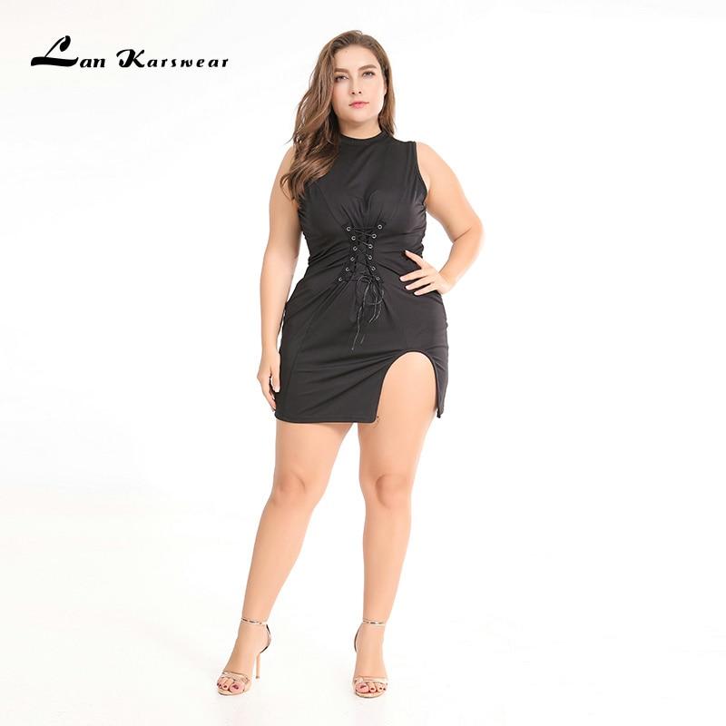 Lan Karswear 2019 Bodycon Զգեստներ Անթև հագուստով Սեքսի Ակումբի Զգեստներ Plus Size Կանացի հագուստ XXXL Vestidos Անվճար առաքում