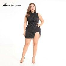Lan Karswear 2019 Bodycon Dresses Sleeveless Sexy Club Party Dresses Plus Size Women Clothing XXXL Vestidos Free Shipping