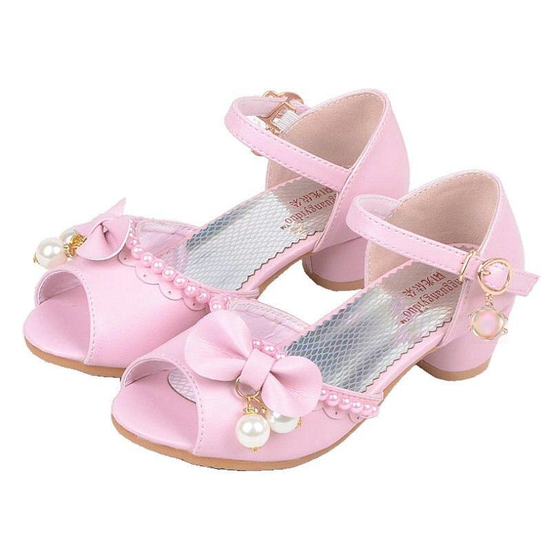 Girl wedding sandals 2018 Summer Children Princess Sandals Bownot Kids Shoes High Heels Dress Shoes Party Shoes For Girls Sandal цена 2017
