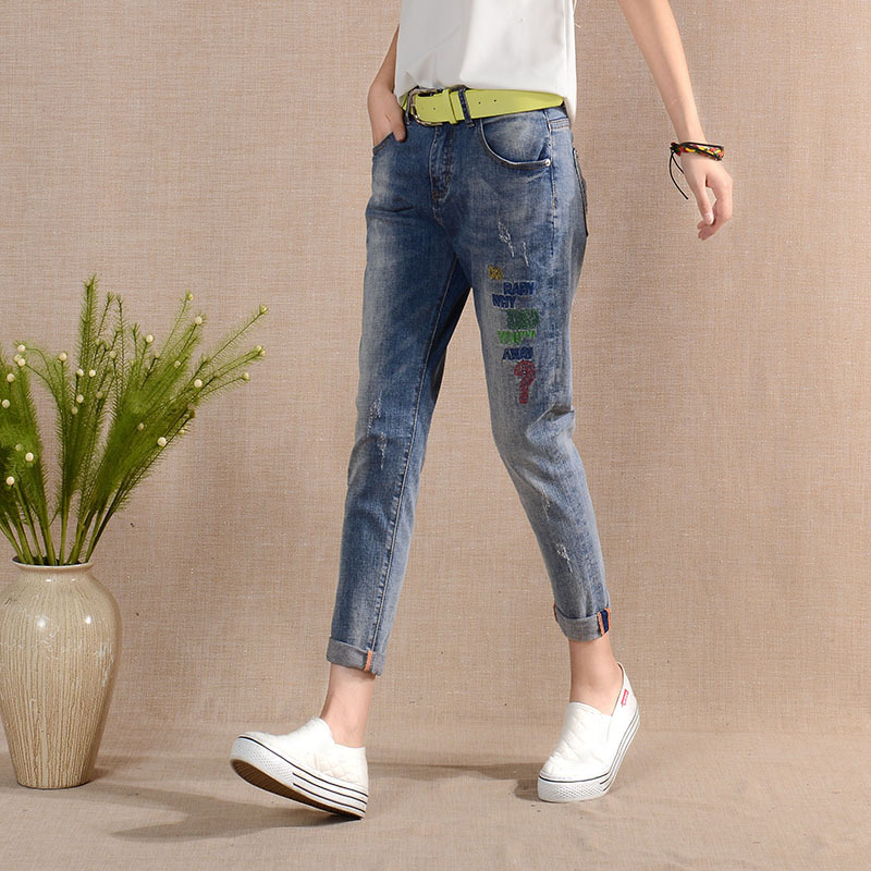 ФОТО Jeans Female Harem Jeans Pants Loose Personality Embroidery Casual Pants Capris 2016 Autumn Winter Straight Jeans Women M039