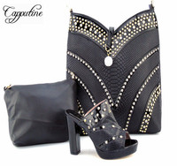 Capputine High Quality PU Leather Woman Shoes And HandBag Set Italian Style Woman Pumps Shoes And