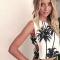 Новое Прибытие женщин Летняя Мода Сексуальные Кокосовой Пальмы Печати Боковой Вырез Майка Урожай Лучших
