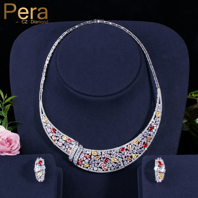 Pera Vintage African Women Wedding Big Statement Prom Party Multicolor Cubic Zirconia Choker Necklace Earring Set