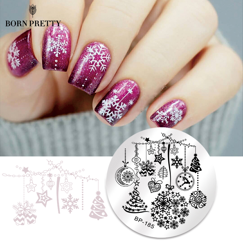 BORN PRETTY Christmas Snow Nail Stamping Plate  Balls Deer Round Template Nail Art Stamp Plate-in Nail Art Templates from Beauty & Health