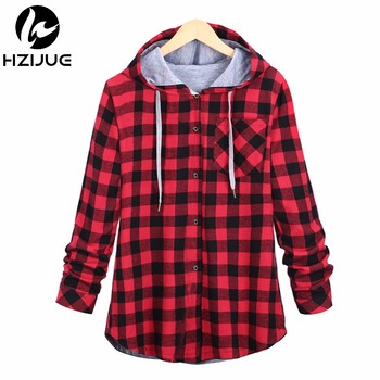 2017 Fashion Women Hoodies Cotton Autumn Winter Coat Long Sleeve Plaid cotton Hoodies Casual button hooded Sweatshirts Oversize