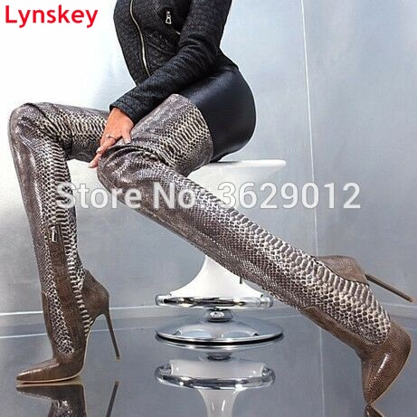 Lynskey Snakeskin Women Boots New Fashion Pointed Toe High Heels Over The Knee Boots Sexy Lady Thigh High Long Boots 2017 winter new fashion women brown or white color square toe heels over the knee high thigh boots martin long boots big size 42