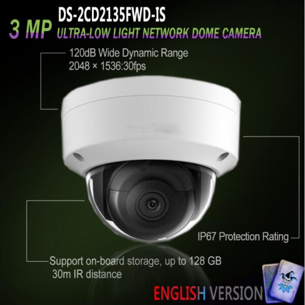 New English Version DS-2CD2135FWD-IS IP 3MP Ultra-Low Light Dome IR Camera Replace DS-2CD2135F-Is cd диск fleetwood mac rumours 2 cd