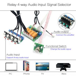 Image 2 - Lusya DIY kits Relais 4 weg Audio Ingang Signaal Selector Switching RCA Audio Switch Ingang Selectie Board B7 004
