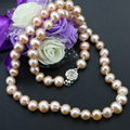Natural cultured freshwater orange pearl beads 7-8mm nearround chain clavicle necklace for women prom elegant gifts 18inch B3224