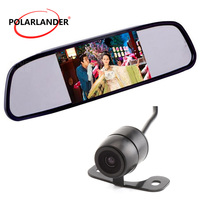 DC 12V Car Interior Mirror Monitor Rearview Camera Optional Video Input 5 Inch 170 Degree Night Vision Color Screen TFT LCD Auto