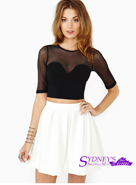 f83c256fdabe33 Women s Sexy Crop Top Mesh And Lycra Out Off Shoulder Cut Off Black T-Shirt