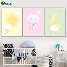 Cartoon Cloud Moon Sun Nordic Poster Wall Art Canvas Painting Posters And Prints Canvas Art Wall Pictures Baby Girl Room Decor moon sun quotes nordic poster wall art canvas painting posters and prints canvas art print wall pictures for living room decor