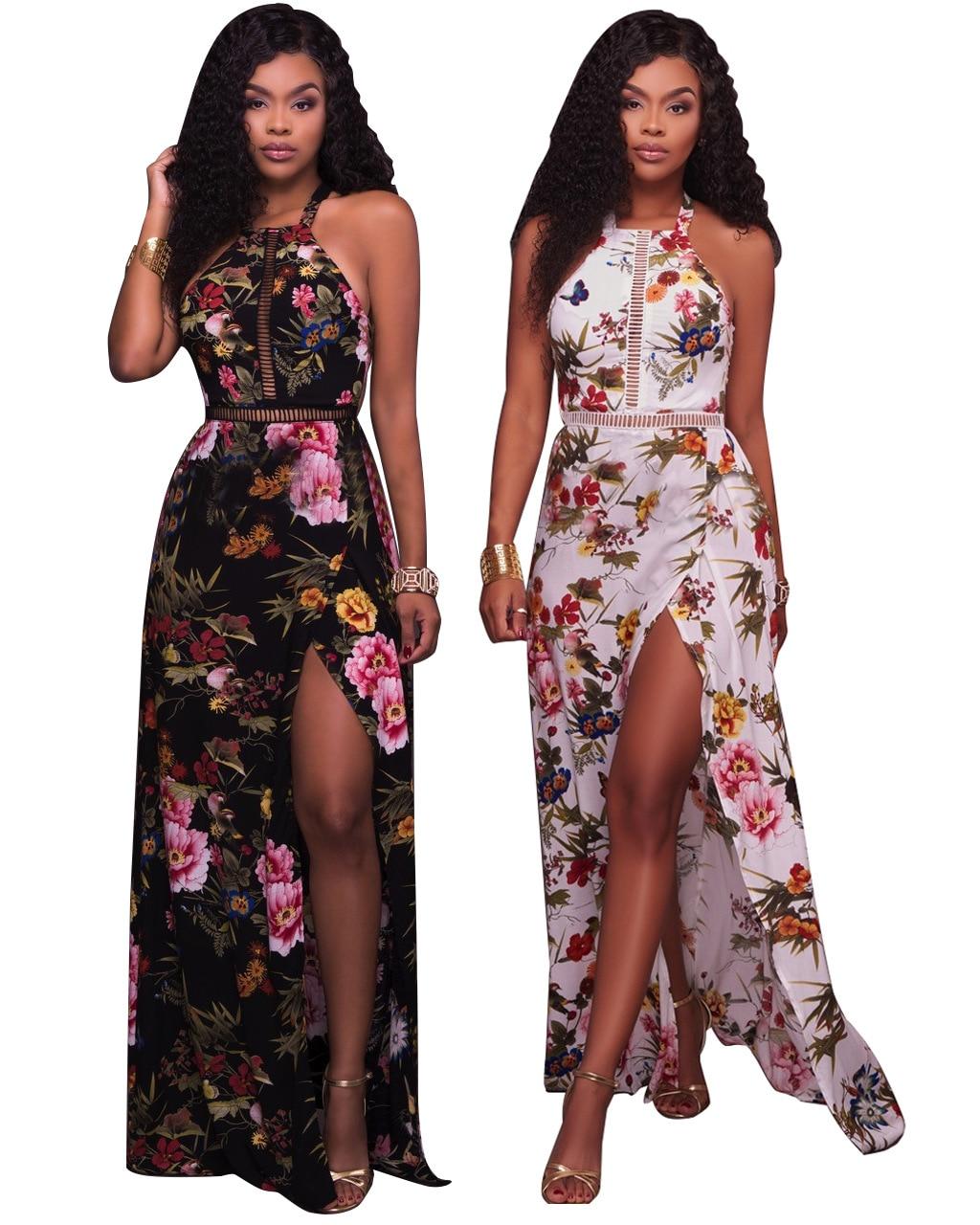 149ed73d743 2017 Flower Printing Halt Sexy Beach Maxi Dress Summer Holiday Dress ...