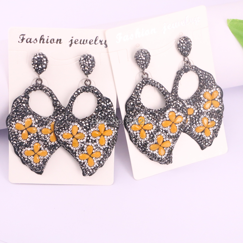 3Pairs orange color pave rhinestone stone leaf earring, gems jewelry leather dangle earrings