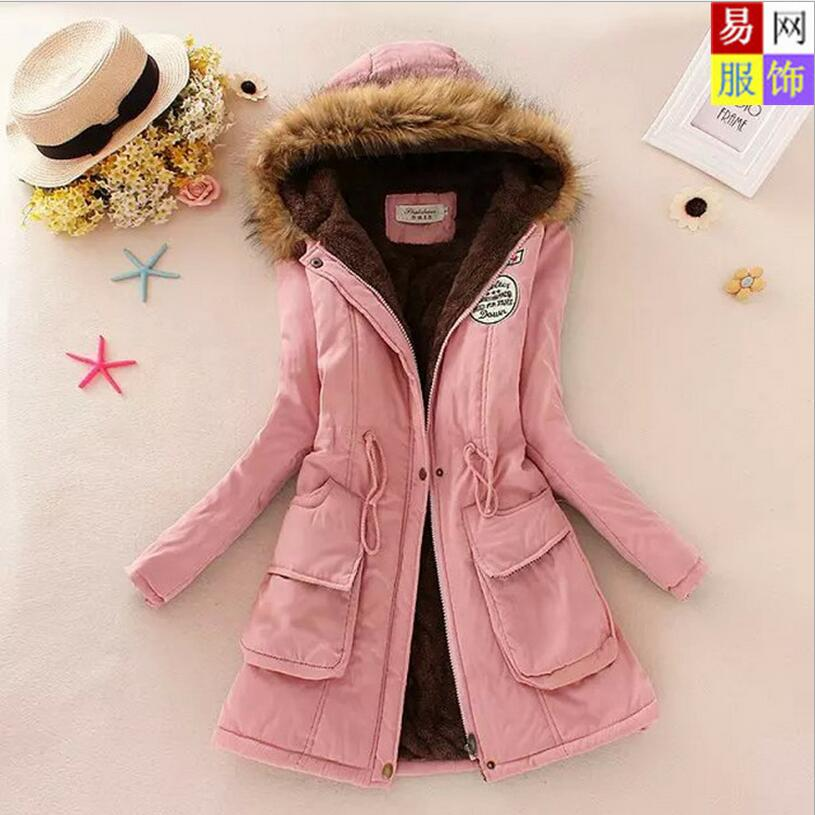Winter 2016 New Fashion Women Coat Thicken Warm Peach Skin Velvet Hooded Fur Collar Slim Big