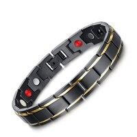 Groothandel levering van mode met een magnetische trend tussen de elektrische goud zwarte mannen titanium armband sieraden SBRM-009