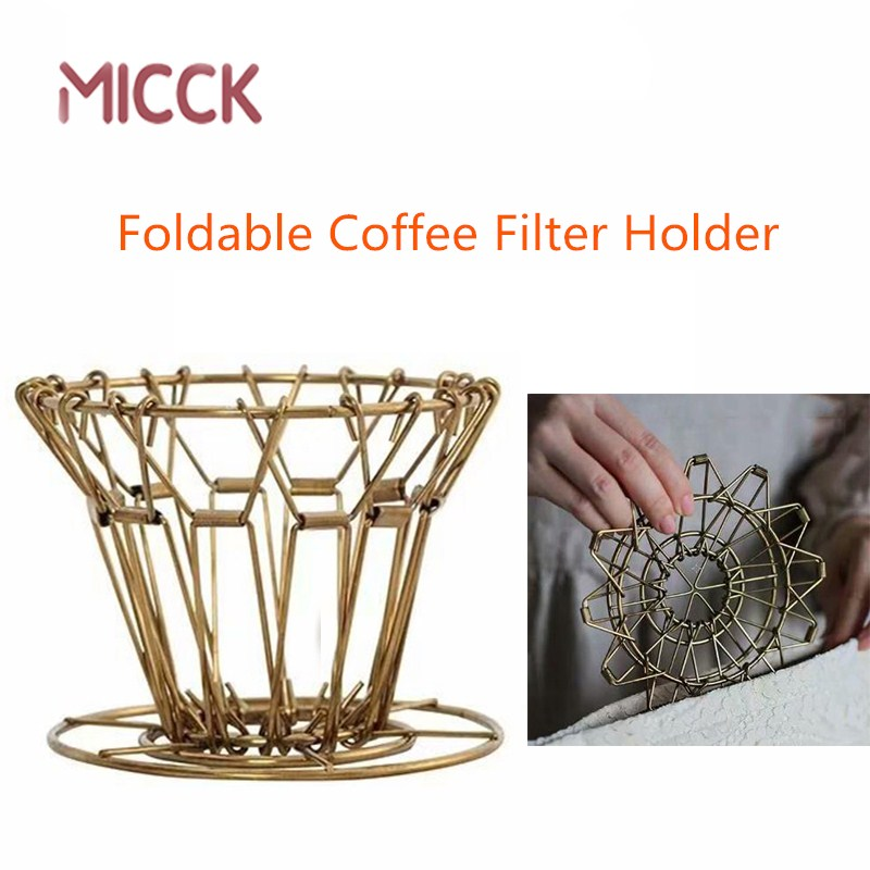 MICCK Foldable Espesso Coffee Filter Alloy Steel Portable Reusable Coffee Dripper Barista For Kitchen Decoration Accessories