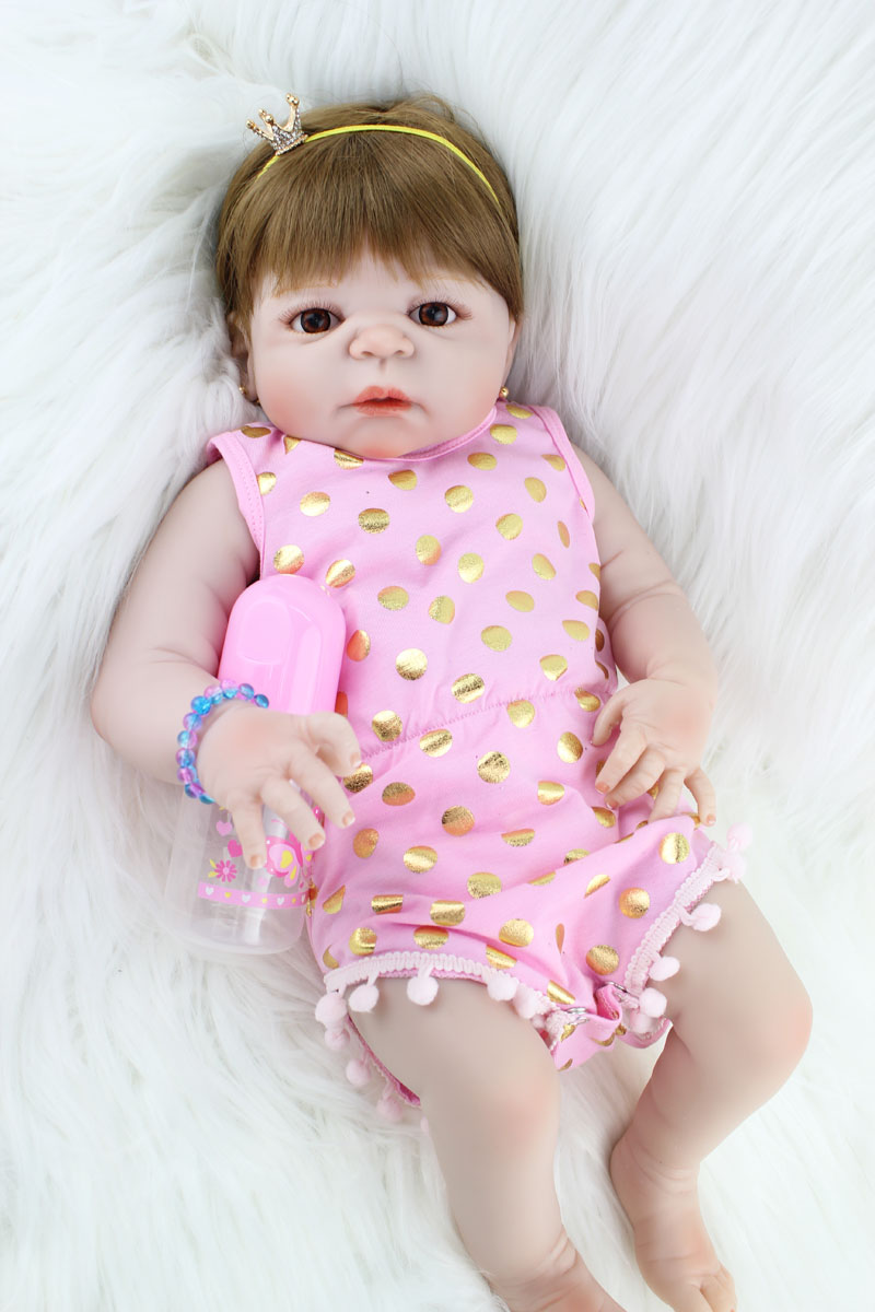 55cm Full Silicone Reborn Girl Baby Doll Toys Like Real Newborn Princess Babies Doll Birthday Gift Girls Bonecas Bathe Toy