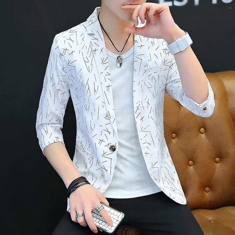 2019 Summer Male Teenagers Printing Thin Section Of Cultivate One's Morality 7 Minutes Of Sleeve Business Blazer