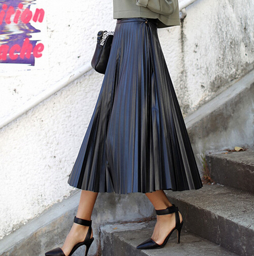 2016 Spring Europe And Us Pu Pleated Skirts Long Maxi