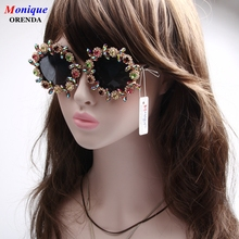 Classic Round Rhinestone Sunglasses women Brand Designer Summer Luxury Crystal Ladies sunglasses For Summer