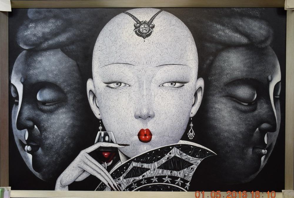 HandPainted Moderne Realist Figura e Canvas Canvas Ngjyrosje pikturë - Dekor në shtëpi - Foto 1