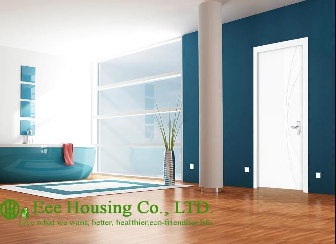 40mm Thickness White Timber Veneer Door For Apartment Swing Type Door Inward Outward Opening