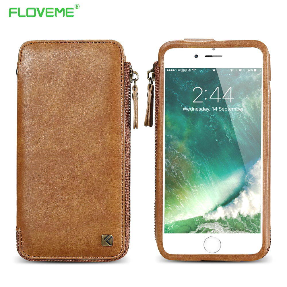 FLOVEME Vintage Wallet Case for iPhone 6 6S 7 Plus Leather Cover Zipper Handbag Card Holder Retro Phone Cases for iPhone 6 6S 7