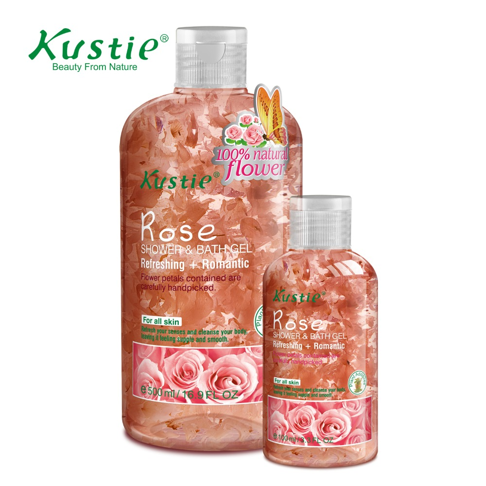 Kustie Romantic Rose Petals Bath Gel for Skin Refreshing (500ml+100ml Value Pack)  недорого