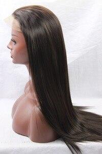 """Image 3 - Natural olhando marrom escuro 2 # natural em linha reta de alta qualidade 100% fibra do cabelo sintético peruca dianteira do laço laço suíço 3 4 """"fastshipping"""