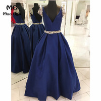 2018 Navy Blue Prom Dresses Long Double Deep V Neck Satin Short Sleeves Vestido Longo Beaded Formal Evening Party Dress