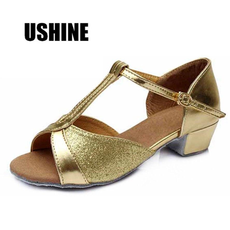 605 Silver Gold Red Low Heeled Salsa Tango Dancing Shoes Zapatos De Baile Latino Mujer Latin Dance Shoes For Women Girls