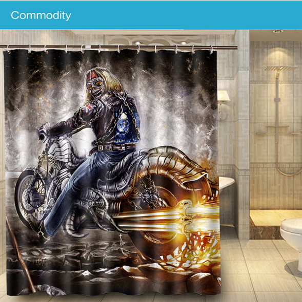 Nice New Fashion Iron Maiden Motorcycle Shower Curtain 160*180cm Waterproof  Polyester Bath Curtain