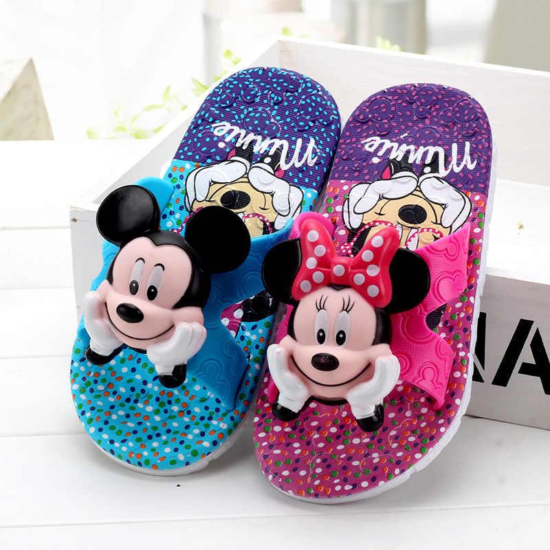Детские летние тапочки для мальчиков и девочек с рисунком Микки, ПВХ, нескользящая Мягкая домашняя обувь для девочек, детские домашние тапочки