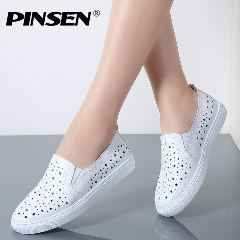 PINSEN 2018 Summer Casual Flats Women Shoes Round Toe Genuine Leather Slip on Ladies Shoes Woman Moccasins Pregnant Creepers wolf who 2017 summer loafers cut out women genuine leather shoes slip on shoes for woman round toe nurse casual loafer moccasins