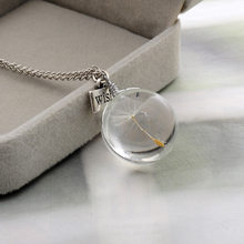 Handmade Natural dandelion round crystal Pendants Necklaces Drying treatment Permanent preservation Jewelry friend Gifts