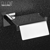 Stainless steel toilet paper holder with lid square toilet roll holder mirror poilshed bathroom accessories
