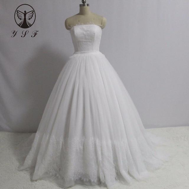 Simple But Elegant Robe De Mariee Strapless Appliqued Lace