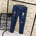Cartoon Patter Women Ripped Jeans Hole Denim Trousers Plus Size 3XL 4XL 5XL Casual Loose Pencil Jeans Blue KK1816