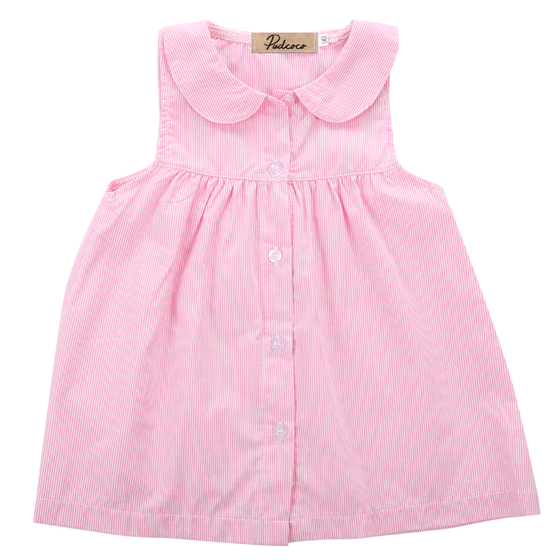 2017 New Baby Girls Dresses Toddler Kid Girl Solid Cotton Peter Pan Collar Dress Infant Kids Girl Sleeveless Cute Dress Clothes db5498 dave bella baby girl lolita dress stylish printed peter pan collar dress toddler children dress