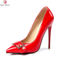 Intención Original Elegante Mujeres Bombas Moda Punta estrecha Tacones Finos Bombas Populares Negro Rojo Nude Zapatos Mujer Plus Size 4-15