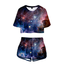 LUCKYFRIDAYF 3D Starry Sky Summer Shorts And T-shirts Suicide Squad Women Two Piece Sets Print Crop Top Clothes 2XL