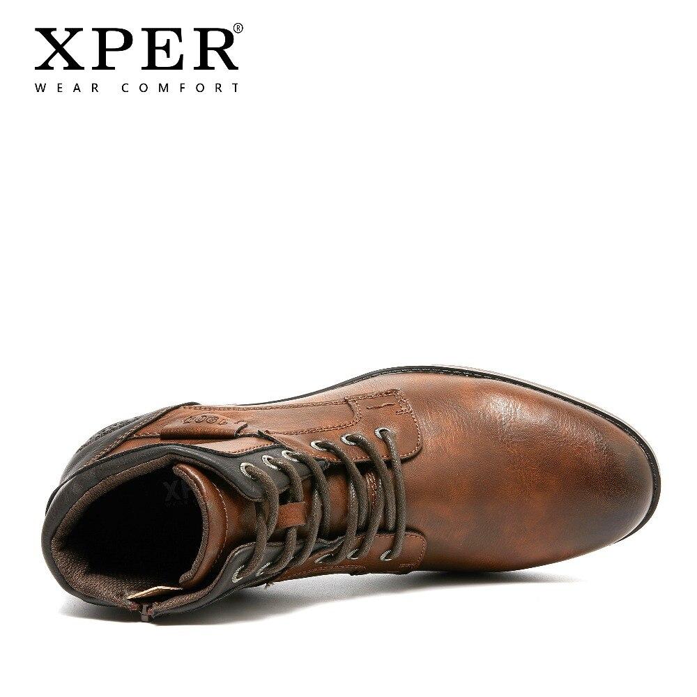 XPER 2019 Printemps Nouveautés Mode bottines Hommes Mise À Niveau bottes de moto Porter Confort Lumière D'hiver Chaussures Armée # XHY12504LG - 4