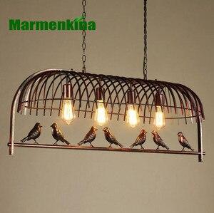 Image 2 - แสงในร่มกรงนกร้านอาหารcafe barโต๊ะศึกษาโคมระย้าย้อนยุคนกโคมระย้าระเบียง.