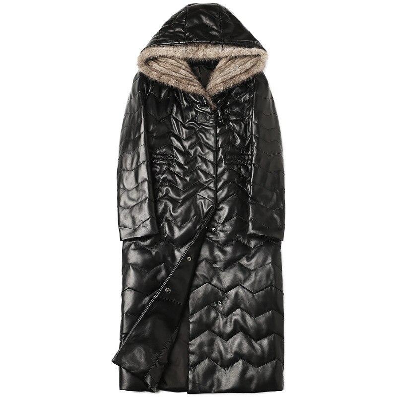 high quality 100% 2019 New Fashion Winter Warm Sheepskin Coat Women's   Leather   Jacket Black Plus size 4XL Winter Outerwear