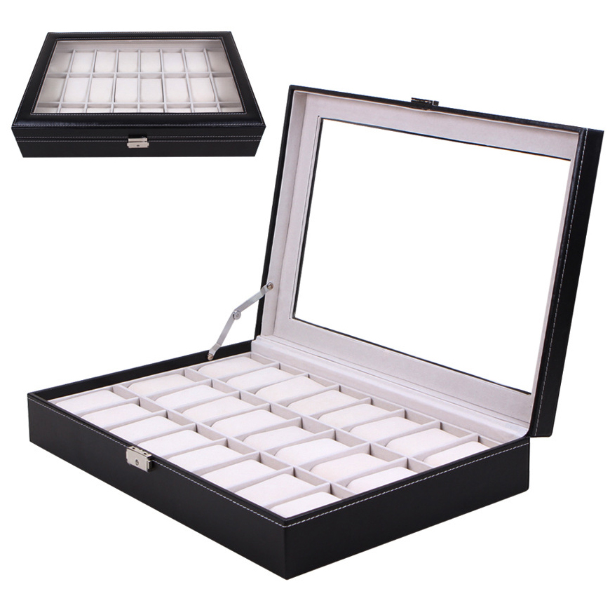 2016 Watch Box Black 2 to 24 Grid Leather Watch Box Display Case Watch Storage Organizer Box Holder ...