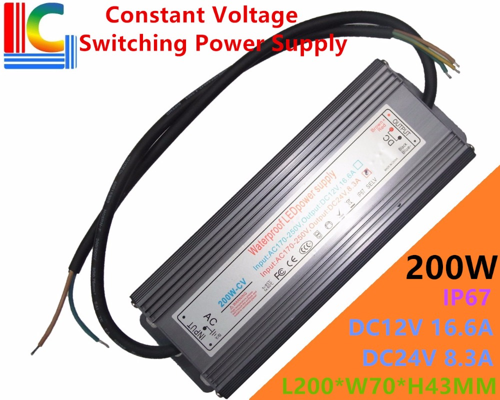200W IP65 Waterproof LED Switching Power Supply 12V 24V LED Driver Adapter 16.6A 8.3A Underwater light Underground 110V 220V CE