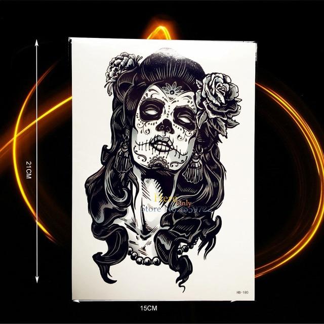 Evil Witch 3D Roses Gangster Temporary Tattoo Stickers HHB180 Women Body Art Arm Sleeve Tatoo Women Girl Design Big Size Tattoo